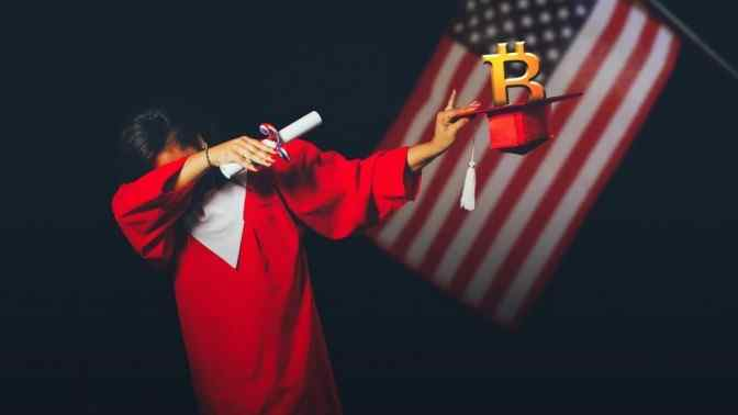 Bitstudent in red cape holding scroll and red graduation hat with Bitcoin inside it, on black background and American flag