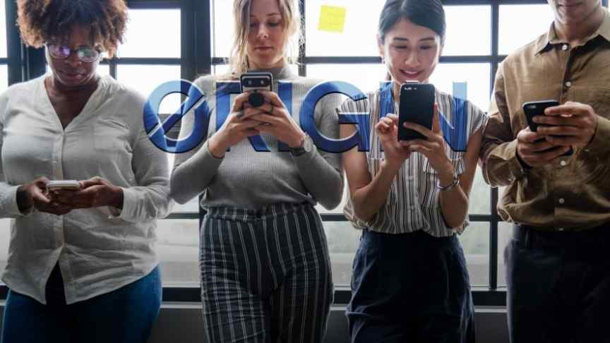 3 women and one man standing in a row holding phones with both hands, Origin logo in blue