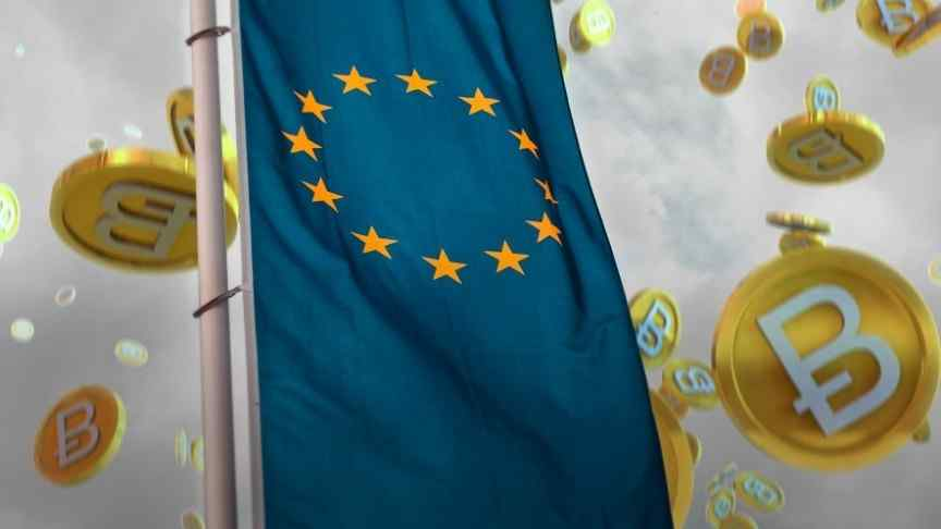 EU flag on pole, grey clouds and bitcoins flying in the background