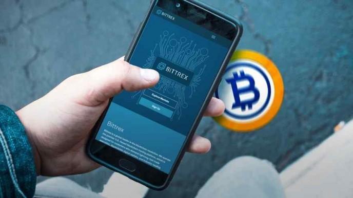 hand holding smartphone showing Bittrex website, Bitcoin Gold logo