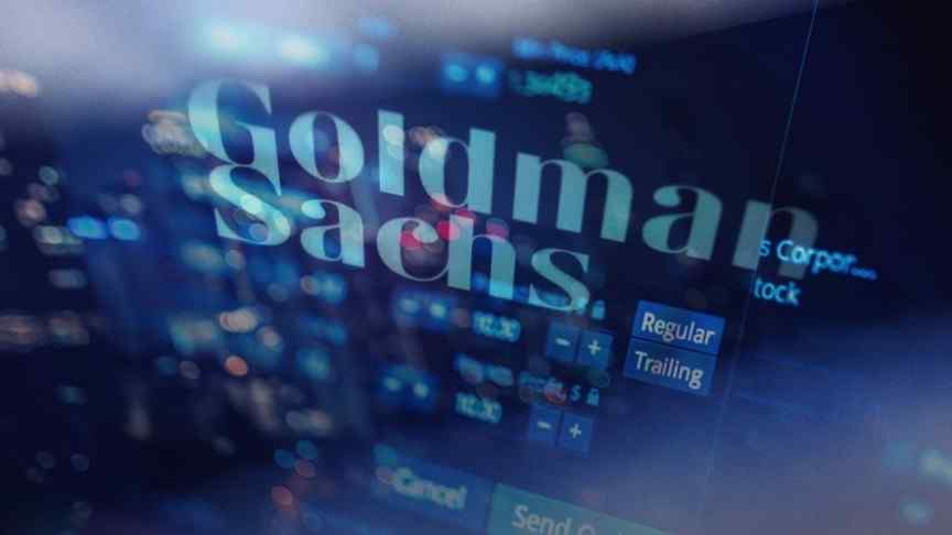 Goldman Sachs name in blue on background of screen