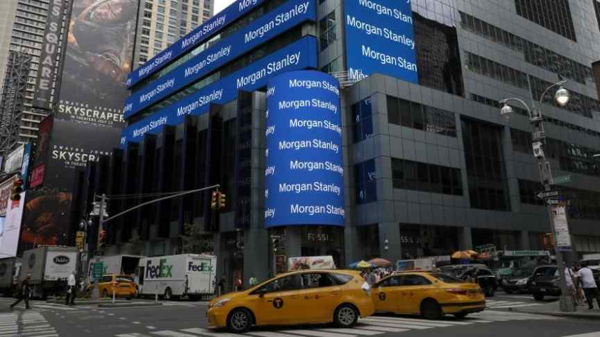 morgan stanley advertisement in blue on building in crossroad