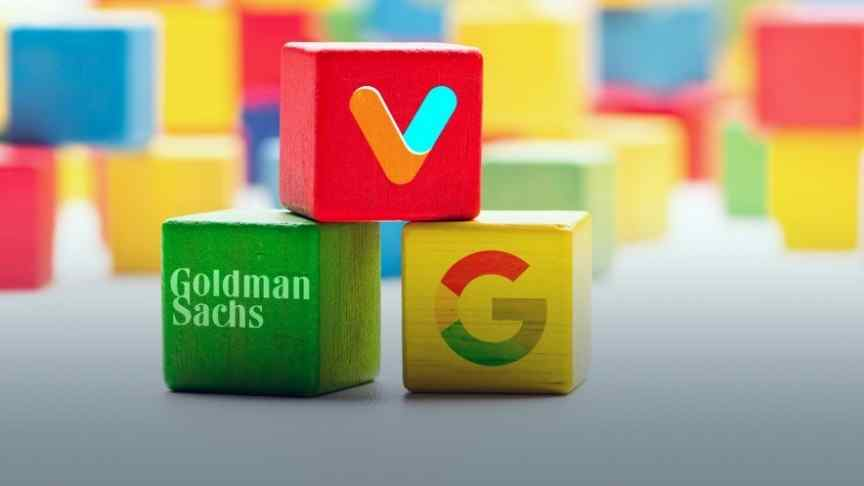 Veem, Google and Goldman Sachs logos on green yellow and red building blocks