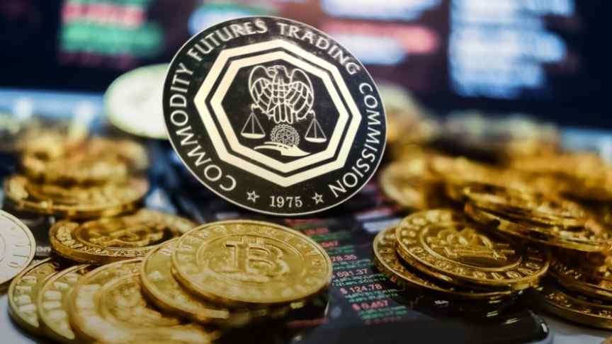CFTC logo on coin, surrounded by gold bitcoins, blurry lights behind