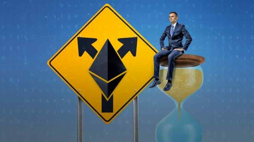 man in suit sitting on an hourglass, big road sign pointing right and left, Ethereum logo
