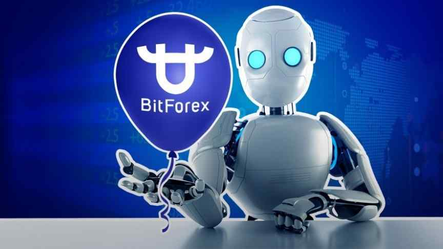 silver robot with blue eyes sitting at grey table, holding purple balloon that says BitForex with logo