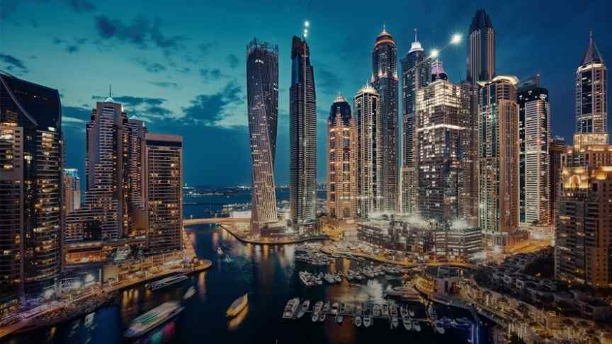 Dubai skyscrapers in the evening