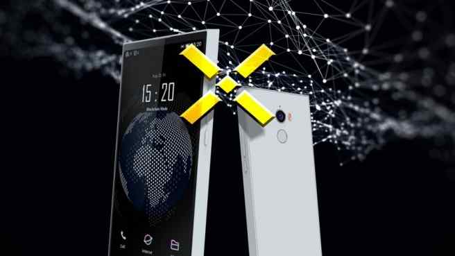 Pundi X logo, two smartphones, one showing globe and time, black background