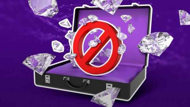 .an open suitcase, purple inside, no entrance sign, diamonds popping out