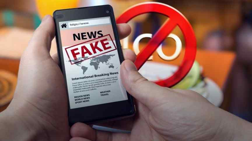 hands holding smartphone showing NEWS FAKE site