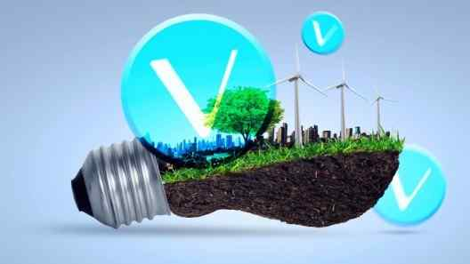 VeChain logo on light bulb filled with grass and wind mills