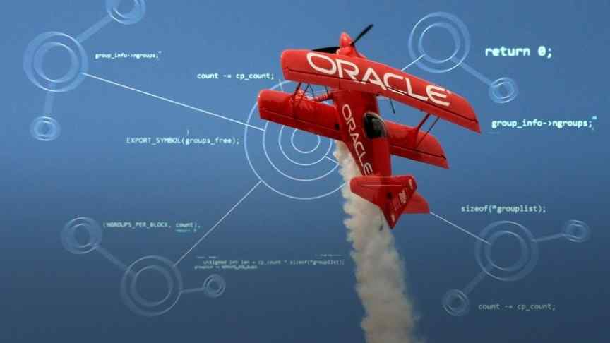 Oracle written on a red toy pilot
