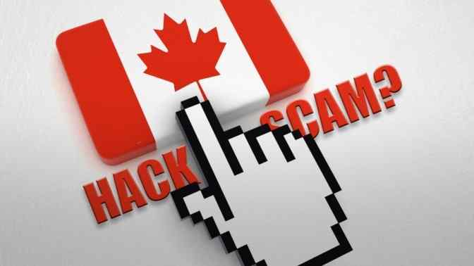 cursor pointing to canada flag button, hack scam