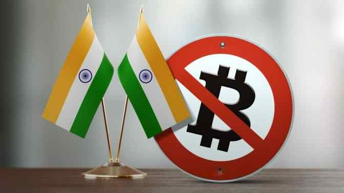 india flags on toothpicks, Bitcoin logo inside no entry sign, on table