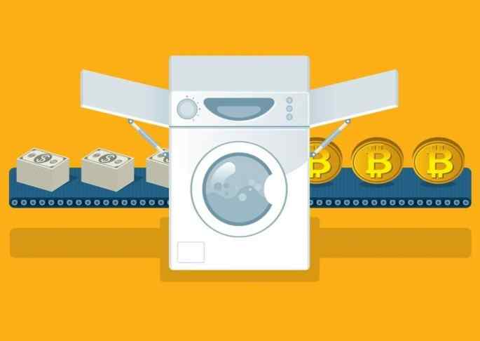 Illustration of a washing machine with dollars and bitcoins by sides