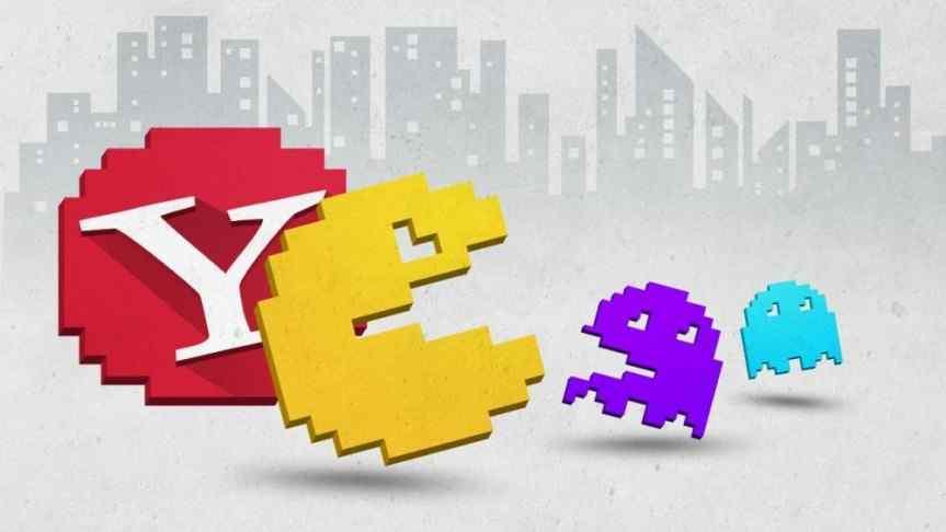 Pacman illustration of Yahoo logo