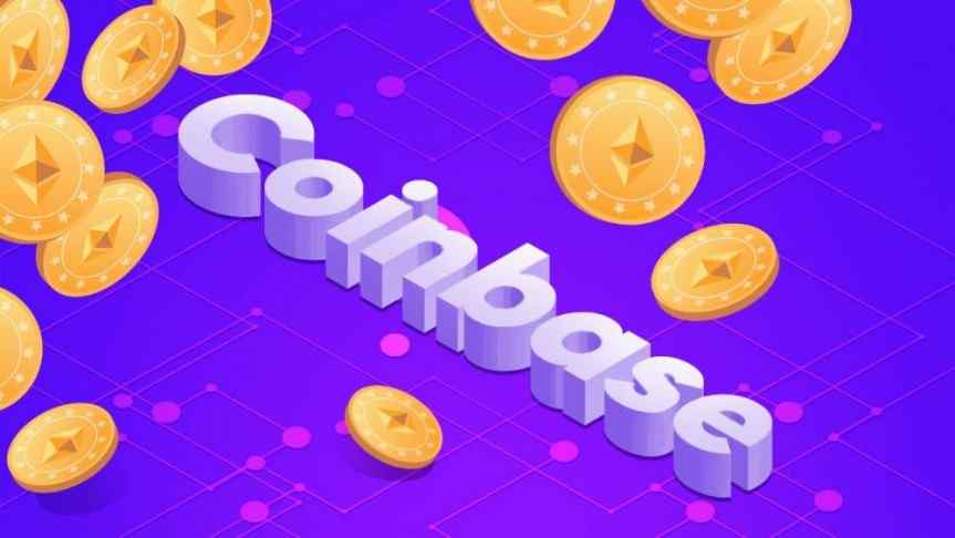 Illustration of Coinbase logo on a purple background and a couple of Ethereum coins