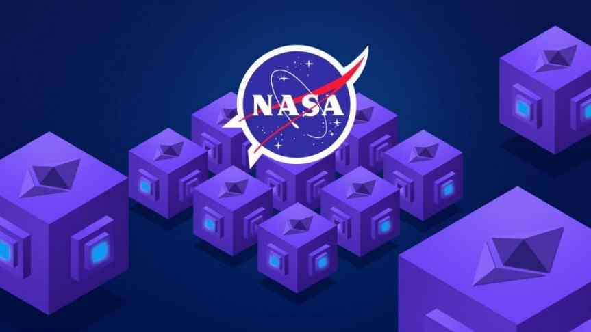 NASA logo and groups of purple cubes designed to represent Ethereum's smart contract technology