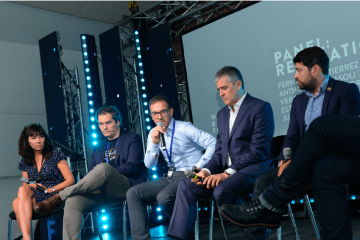 Five speakers sitting at The North American Bitcoin Conference