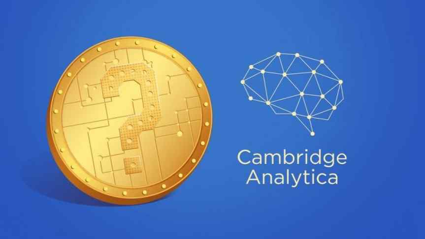 Cambridge Analytica logo next to a coin with stamped question mark