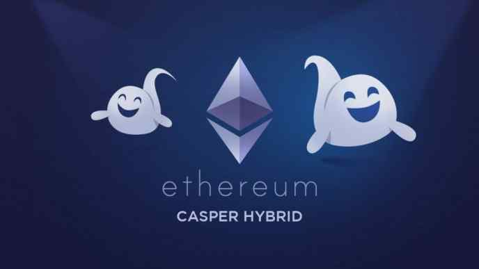 Ethereum Casper Hybrid illsutration showing the Ethereum logo and two Casper ghost animations