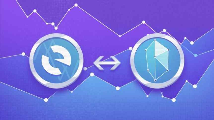 Logos of Kyber Network (KNC) and My Ether Wallet (MEW) connected by a double-headed arrow