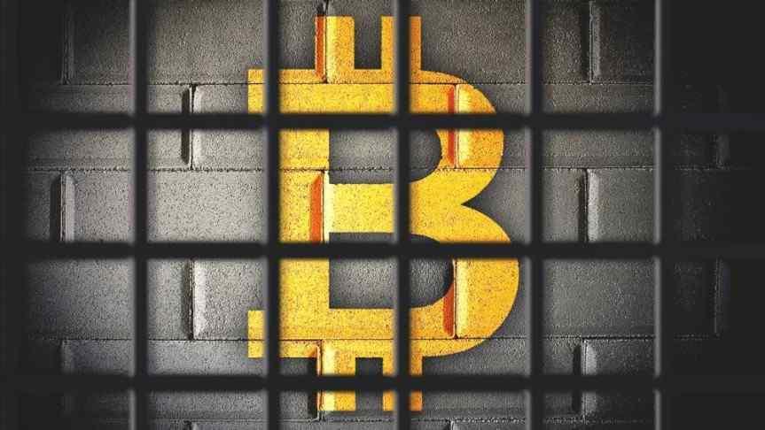 Illustration of a Bitcoin symbol behind prison bars