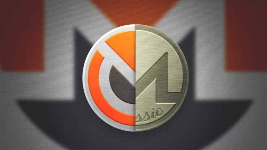 Monero Original and Monero Classic half logos with blurry Monero logo on the background