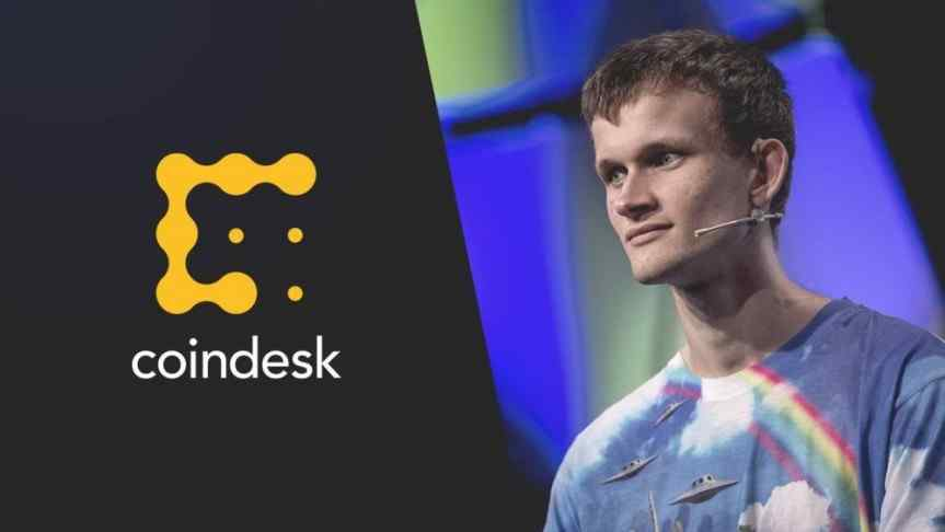 Vitalik Buterin and the Coindesk logo