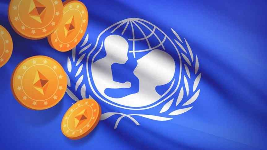 Illustration of Unicef flag a couple of Ethereum coins