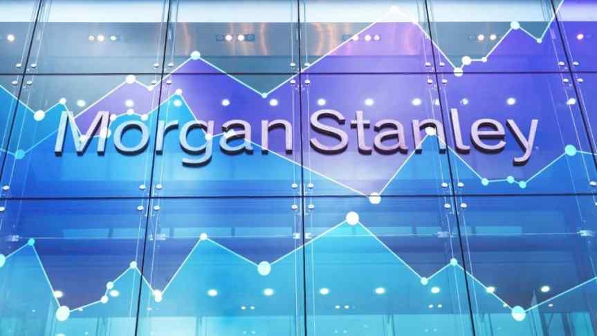 Morgan Stanley written in 3D on a squared glass wall and performance graphs overlaid.
