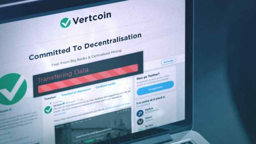Vertcoin Twitter page displayed on a laptop screen