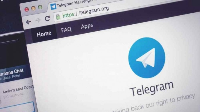 Shot of Telegram.org  home page displayed