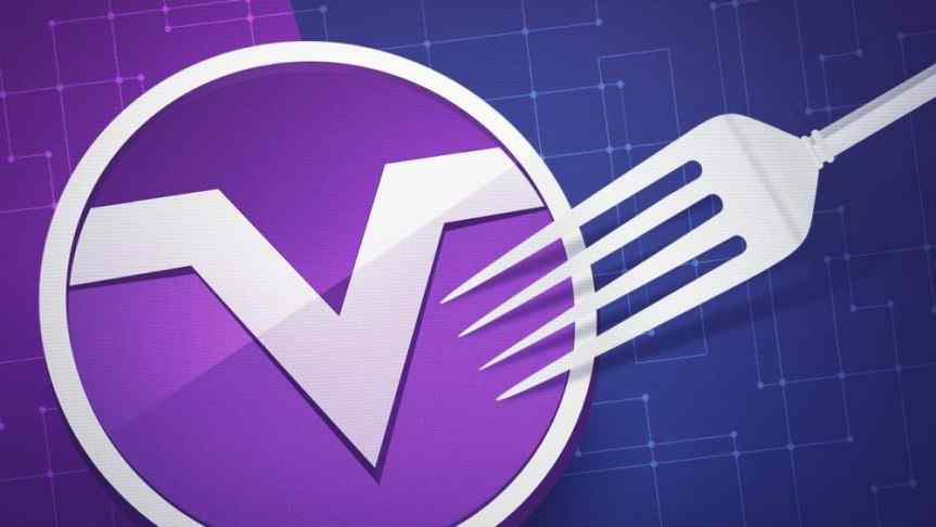 Design representing MoneroV logo touched by a fork