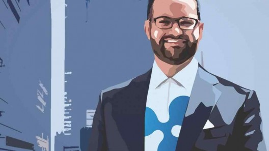 Artistic design of Ryan Zagone wearing a suit and a shirt with Ripple logo