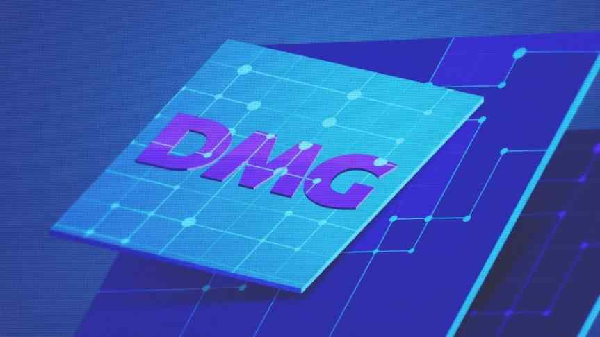 DMG logo on a blue background