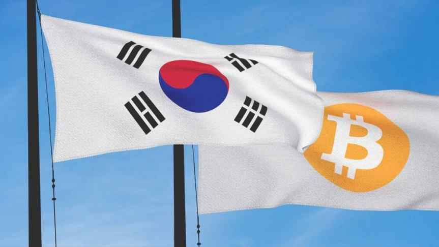 South Korean Flag waving in the wind next to a white flag with Bitcoin logo on it