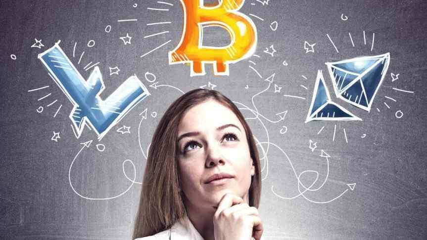 Woman thinking to a variety of cryptocurrencies