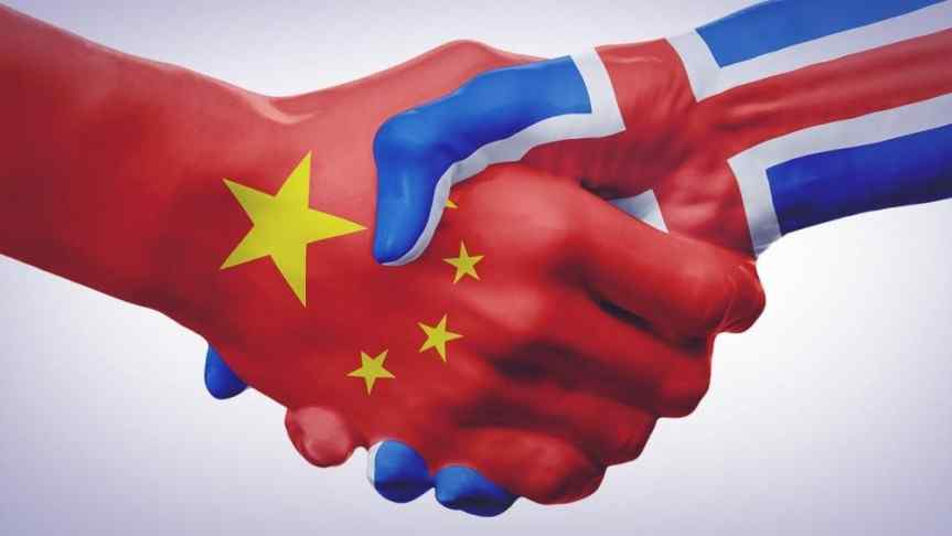 Shaking Hands covered in China and Iceland flags