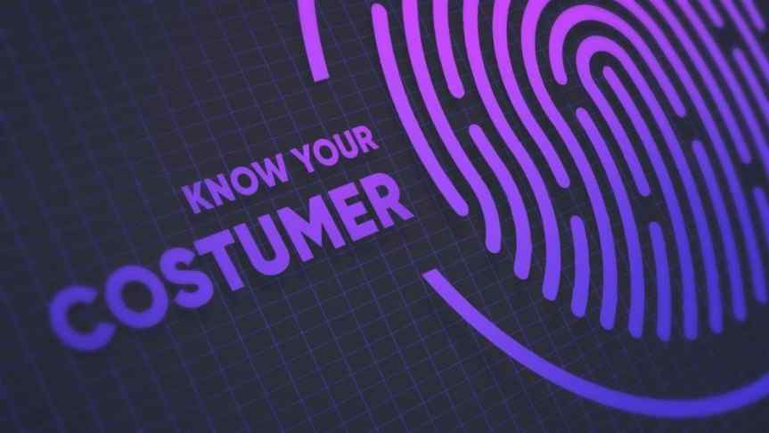 Enlarged illustrated fingerprint next to a text saying 'Know your customer""