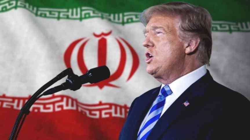 Image of Donald Trump giving a speech; Iranian Flag on background.