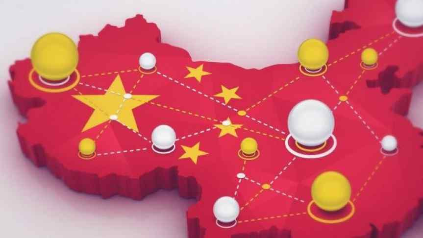Red illustration of China territory covered with yellow and white blockchain nodes
