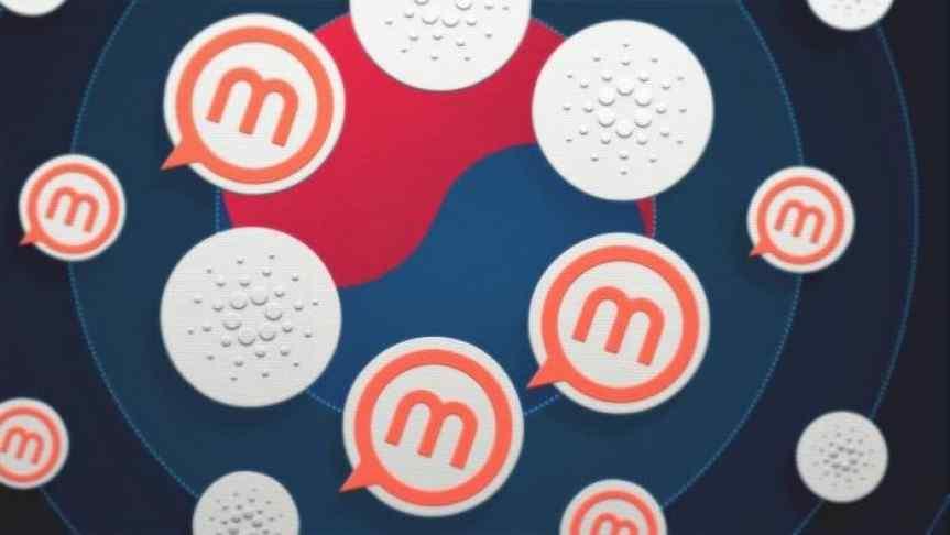 Cardano and Metaps Plus logos over the South Korean flag