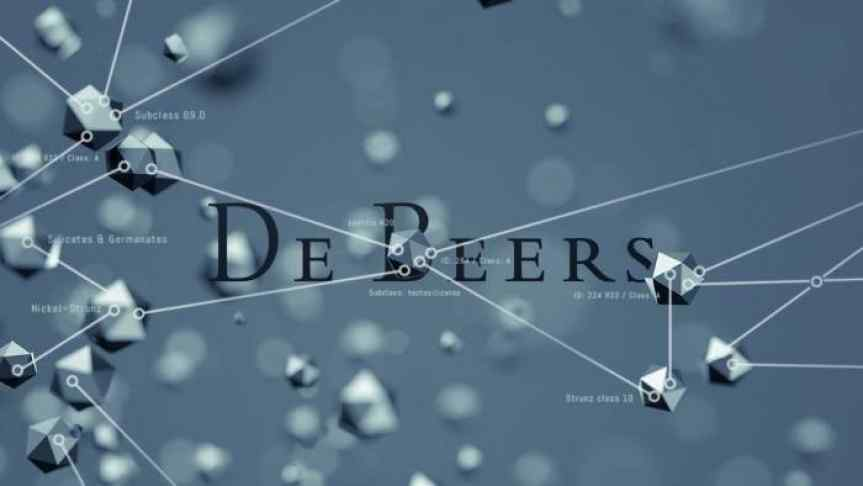 De Beers logo on a blockchain illustration based on diamonds