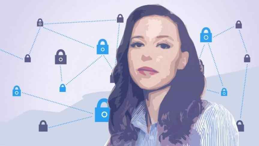 Amber Baldet and a blockchain illustration with locks instead of nodes