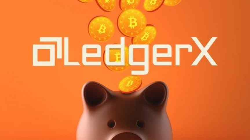 LedgerX logo and a graphic illustration of Bitcoin coins being inserted into a savings pig.