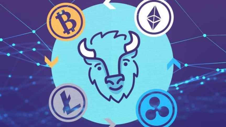 Bison mobile app logo together with Bitcoin, Ethereum, Litecoin and Ripple logos