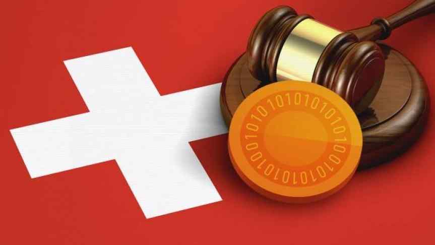 Illustration of a gavel and a coin over the Swiss flag
