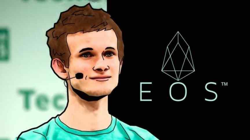 Illustration of Vitalik Buterin and the EOS logo
