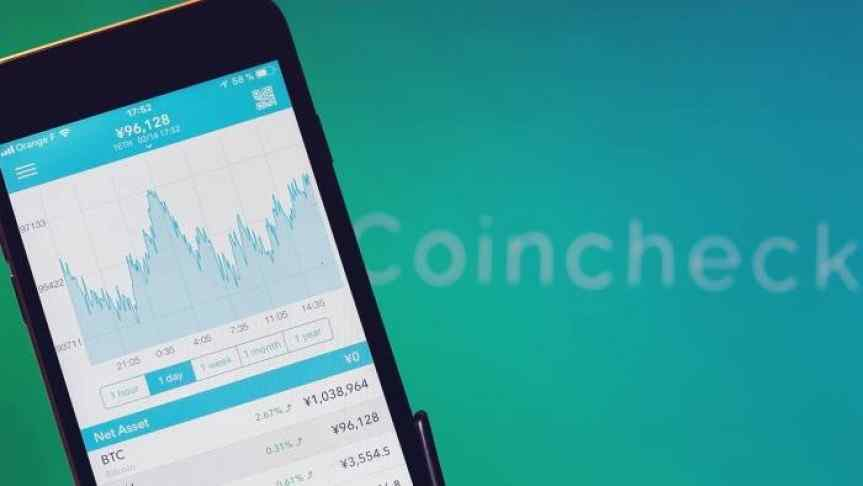 Crypto chart displayed on a phone screen in front of a blue and green background  branded with Coincheck